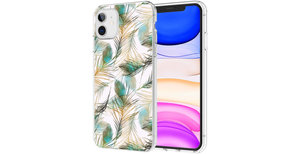 iMoshion Design hoesje iPhone 11 - Pauw - Groen / Goud