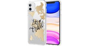 iMoshion Design hoesje iPhone 11 - Let's Go Travel - Zwart / Goud