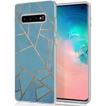 iMoshion Design hoesje Galaxy S10 - Grafisch Koper - Blauw / Goud