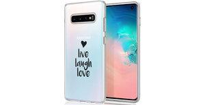 iMoshion Design hoesje Samsung Galaxy S10 - Live Laugh Love - Zwart