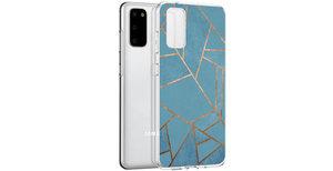 iMoshion Design hoesje Galaxy S20 - Grafisch Koper - Blauw / Goud