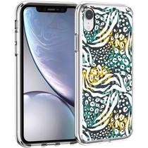iMoshion Design hoesje iPhone Xr - Jungle - Wit / Zwart Groen