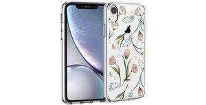 iMoshion Design hoesje iPhone Xr - Bloem - Roze / Groen