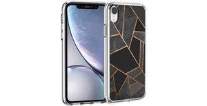 iMoshion Design hoesje iPhone Xr - Grafisch Koper - Zwart / Goud