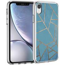 iMoshion Design hoesje iPhone Xr - Grafisch Koper - Blauw / Goud
