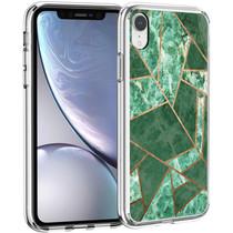 iMoshion Design hoesje iPhone Xr - Grafisch Koper - Groen / Goud