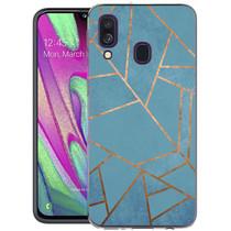 iMoshion Design hoesje Galaxy A40 - Grafisch Koper - Blauw / Goud