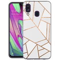 iMoshion Design hoesje Galaxy A40 - Grafisch Koper - Wit / Goud