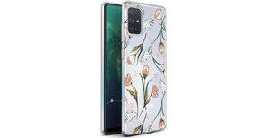 iMoshion Design hoesje Samsung Galaxy A71 - Bloem - Roze / Groen