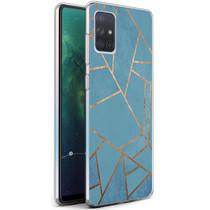 iMoshion Design hoesje Galaxy A71 - Grafisch Koper - Blauw / Goud