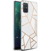 iMoshion Design hoesje Galaxy A71 - Grafisch Koper - Wit / Goud