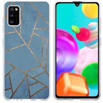 iMoshion Design hoesje Galaxy A41 - Grafisch Koper - Blauw / Goud