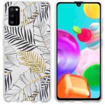 iMoshion Design hoesje Samsung Galaxy A41 - Bladeren - Zwart / Goud
