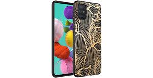 iMoshion Design hoesje Samsung Galaxy A71 - Bladeren - Goud / Zwart