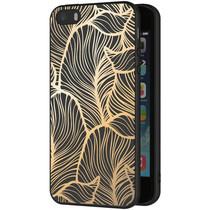 iMoshion Design hoesje iPhone 5 / 5s / SE - Bladeren - Goud / Zwart