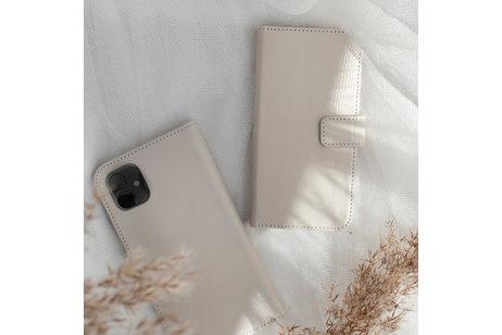Selencia Echt Lederen Booktype voor iPhone SE (2020) / 8 / 7 / 6(s) - Lichtgrijs