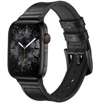 iMoshion Echt lederen bandje Apple Watch 42/44mm - Zwart