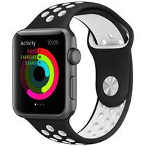 iMoshion Siliconen sport bandje Apple Watch 42/44mm - Zwart / Wit
