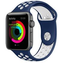 iMoshion Siliconen sport bandje Apple Watch 42/44mm - Blauw / Wit