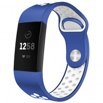 iMoshion Siliconen sport bandje Fitbit Charge 3 / 4 - Blauw / Wit
