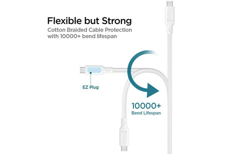 Spigen Essential Braided USB-C naar USB-C kabel - 1,5 meter - Wit