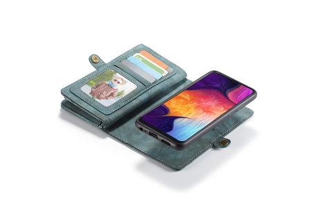 CaseMe Luxe Lederen 2 in 1 Portemonnee Booktype voor de Samsung Galaxy A50 / A30s - Groen