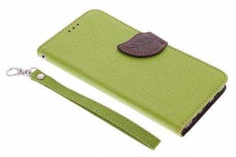 Blad Design Booktype voor Samsung Galaxy S6 Edge Plus - Groen
