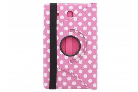 360° Draaibare Polka Dot Bookcase voor Samsung Galaxy Tab E 9.6 - Roze
