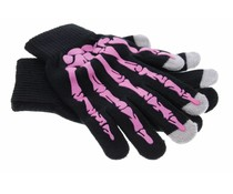 Roze skelet touchscreen handschoenen