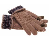 Bruin gebreide touchscreen handschoenen