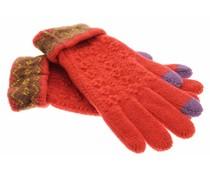 Rood gebreide touchscreen handschoenen