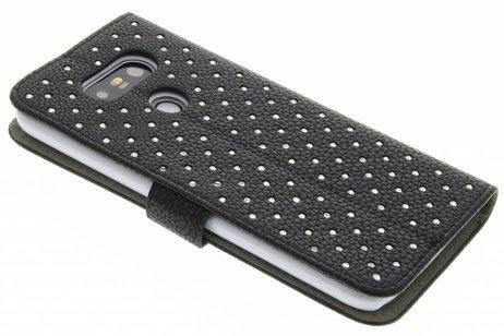 Zwarte chique strass booktype hoes voor de LG G5 (SE)