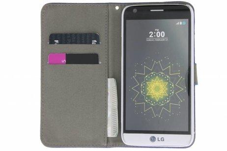 Blauwe chique strass booktype hoes voor de LG G5 (SE)