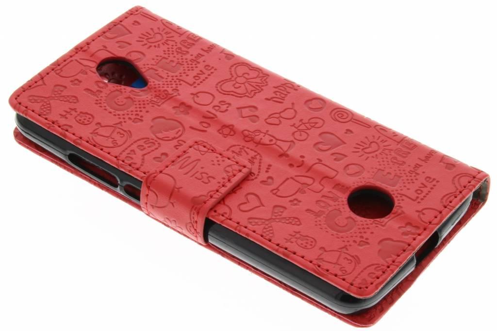 Rode cartoon design booktype hoes voor de Acer Liquid Zest (4G)