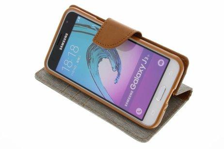 Mercury Goospery Canvas Diary Booktype voor Samsung Galaxy J3 / J3 (2016) - Grijs