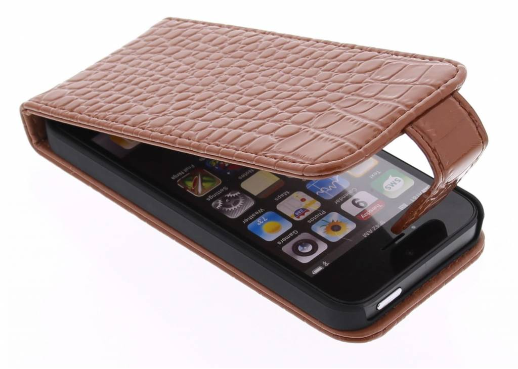 Krokodil Flipcase voor iPhone SE / 5 / 5s - Bruin