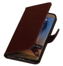TPU Bookstyle Cover for Galaxy S6 Edge Plus G928F Brown
