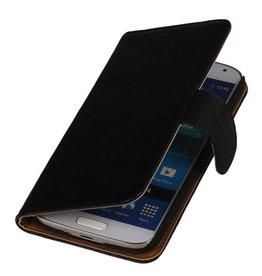 Gewaschenem Leder-Buch-Art-Fall für Huawei Ascend Y300 Schwarz