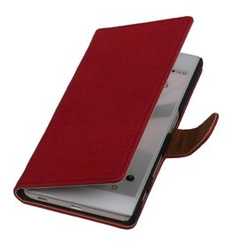 Washed Leather Bookstyle Case for Sony Xperia T3 Pink