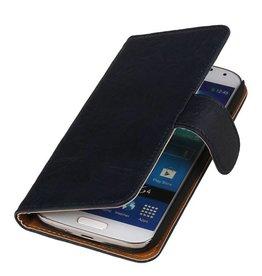 Gewaschenem Leder-Buch-Art-Fall für Galaxy Note 2 N7100 d.blauw