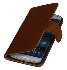 Washed Leer Bookstyle Hoes voor Galaxy Note 2 N7100 Bruin
