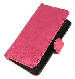 Washed Leer Bookstyle Hoes voor Galaxy S Ativ i8750 Roze