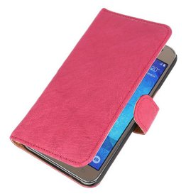Washed Leer Bookstyle Hoes voor Galaxy J5 J500F Roze
