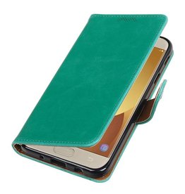Pull Up TPU PU Leather Bookstyle for Galaxy J7 Pro Green