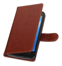 Moto C Portemonnee hoesje booktype wallet case Bruin