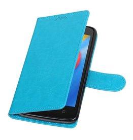 Moto C Portemonnee hoesje booktype wallet case Turquoise