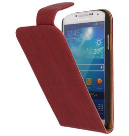 Wood Classic Flip Case for Galaxy S4 i9500 Red