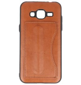 Standing TPU Wallet Case for Galaxy J3 / J3 2016 Brown