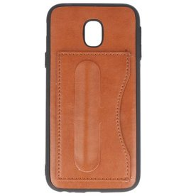 Standing TPU Wallet Case for Galaxy J3 2017 Brown