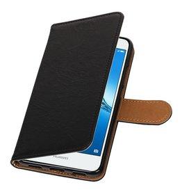 Washed Leer Bookstyle Hoes voor Huawei Y7 / Y7 Prime Zwart